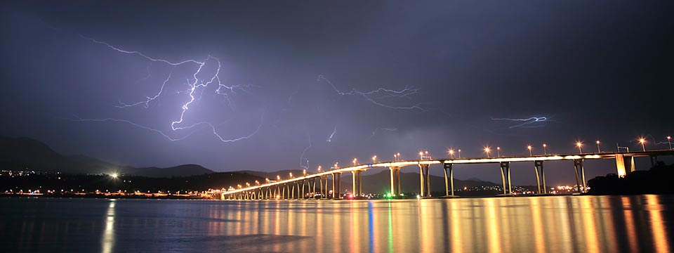 Lightning over Hobart