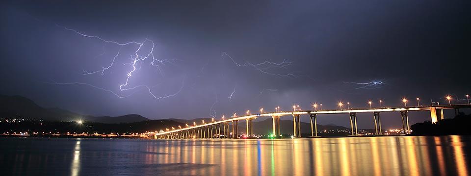 Lightning over Hobart